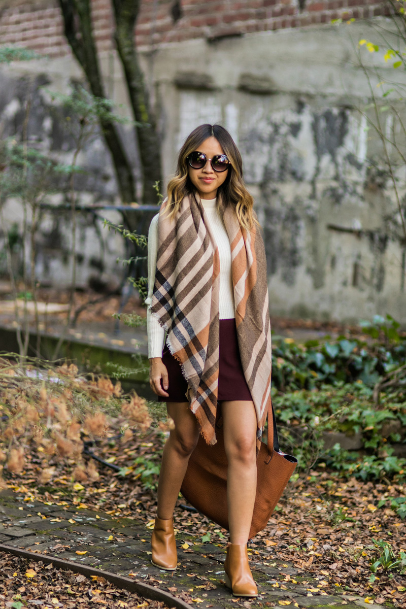 petite fashion blog, lace and locks, los angeles fashion blogger, oc fashion blogger, fall outfit, nordstrom fall fashion, fall plaid scarf, tan booties