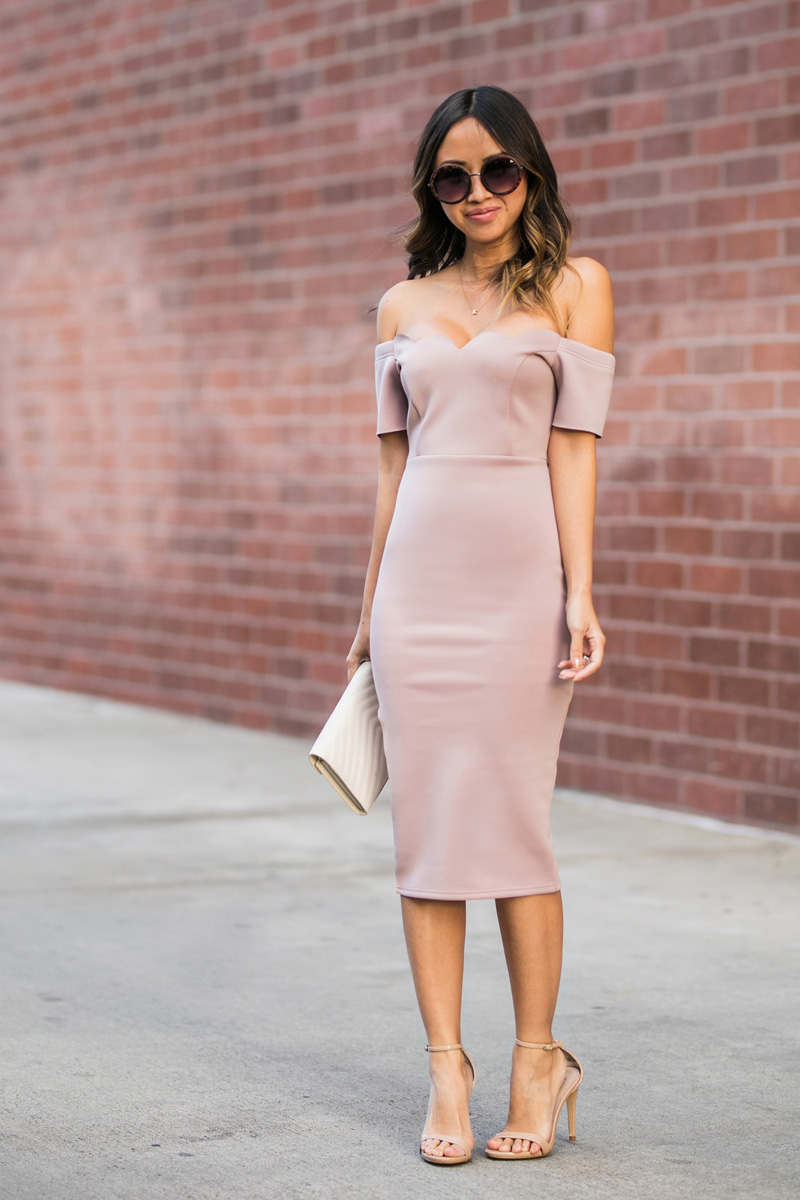 petite fashion blog, lace and locks, los angeles fashion blogger, oc fashion blogger, off the shoulder dress, scallop bodycon dress, date night outfit, asos