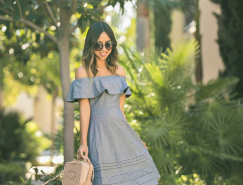 petite fashion blog, lace and locks, los angeles fashion blogger, oc fashion blogger, off the shoulder dress, mgemi shoes, spring outfit, chanel vanity handbag, cute dress for women