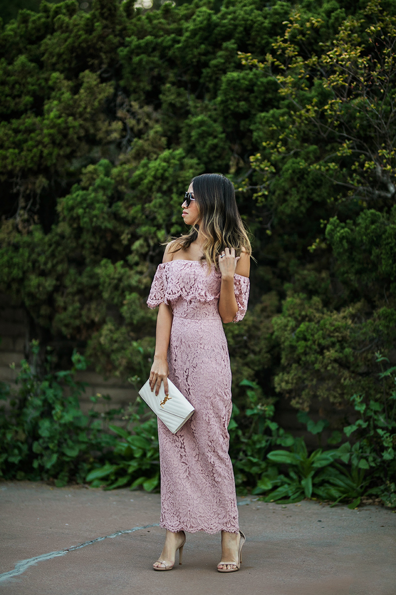 petite fashion blog, lace and locks, los angeles fashion blogger, oc fashion blogger, off the shoulder dress, lace midi dress, asos dress, cute lace dress