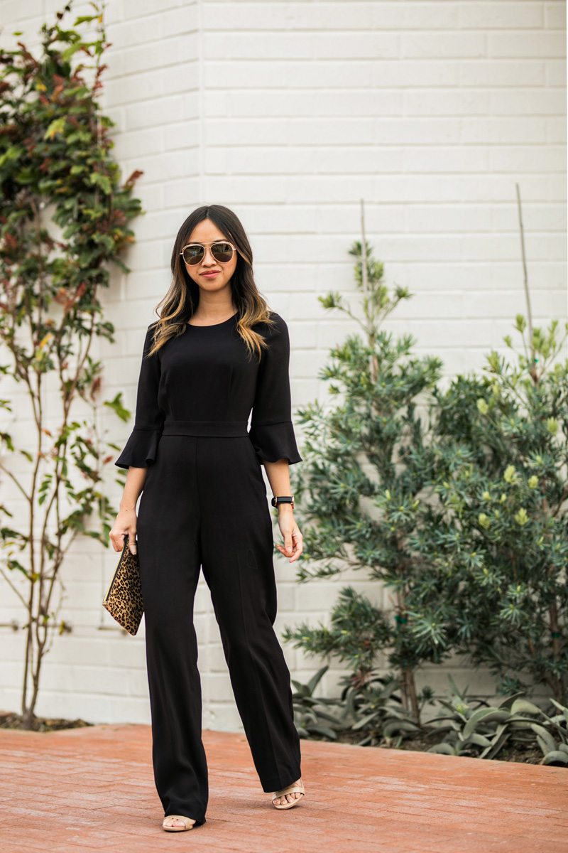 petite fashion blog, lace and locks, los angeles fashion blogger, oc fashion blogger, black jumpsuit, ann taylor jumpsuit, office outfits, ruffle jumpsuit