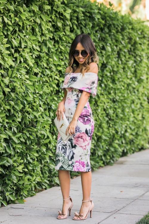 lace and locks, petite fashion blogger, spring trends, off the shoulder floral dress, bardot dress, cute spring dresses for women, asos dress, oc fashion blog