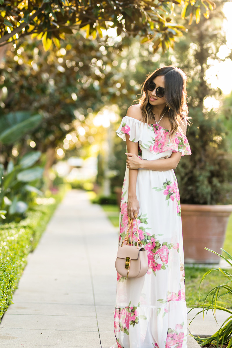 petite fashion blog, lace and locks, LA fashion blogger, oc fashion blogger, off the shoulder maxi dress, cute maxi dress, morning lavender, floral maxi dress