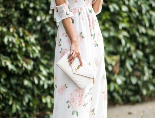 petite fashion blog, lace and locks, LA fashion blogger, orange county fashion blogger, floral maxi dress, cold shoulder dress, asos maxi dress, cute spring maxi