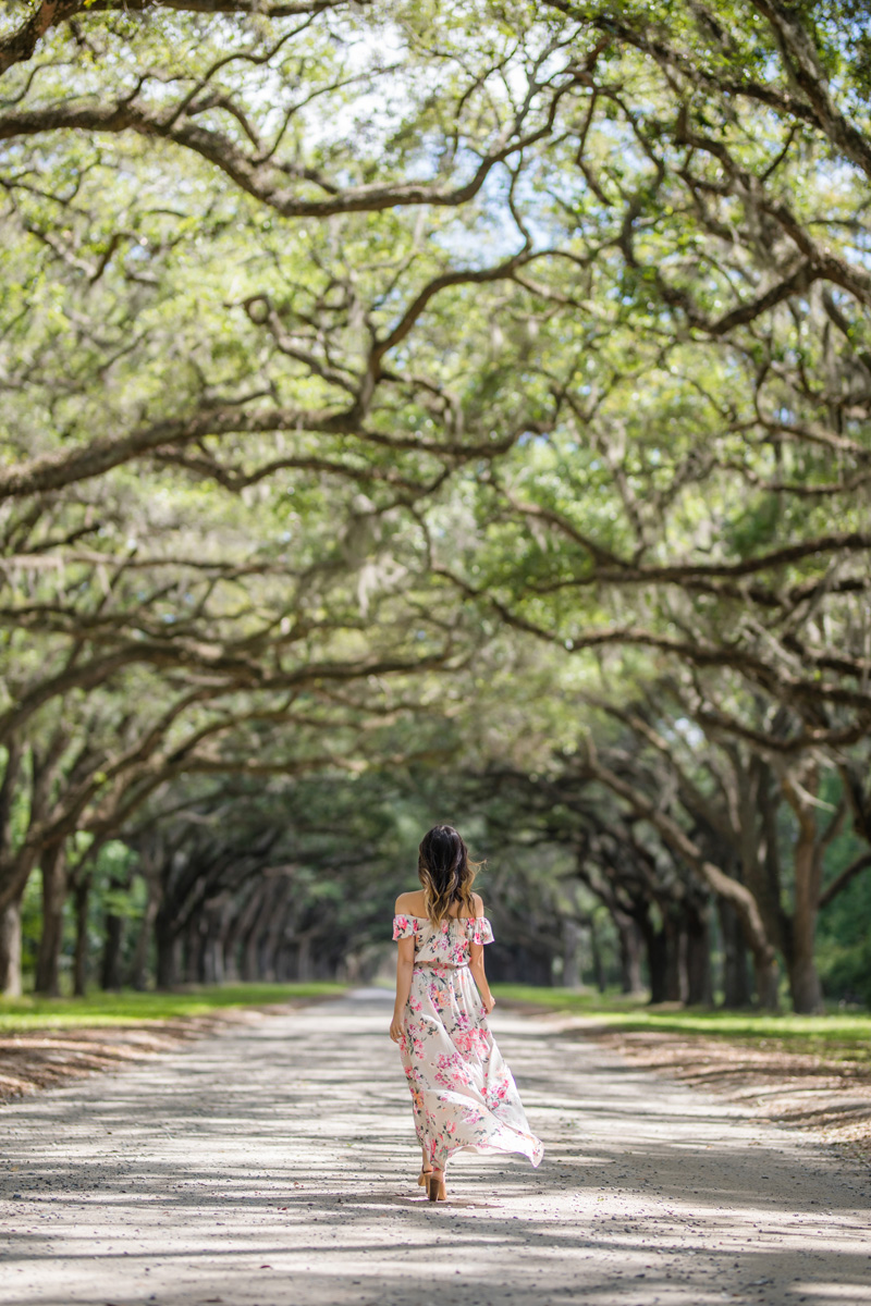 lace and locks, petite fashion blogger, oc fashion blogger, off the shoulder maxi dress, floral maxi dress, savannah travel, cute mules, cute spring look