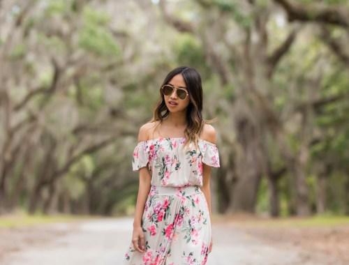 lace and locks, petite fashion blogger, oc fashion blogger, off the shoulder maxi dress, floral maxi dress, savannah travel, cute mules, cute spring look