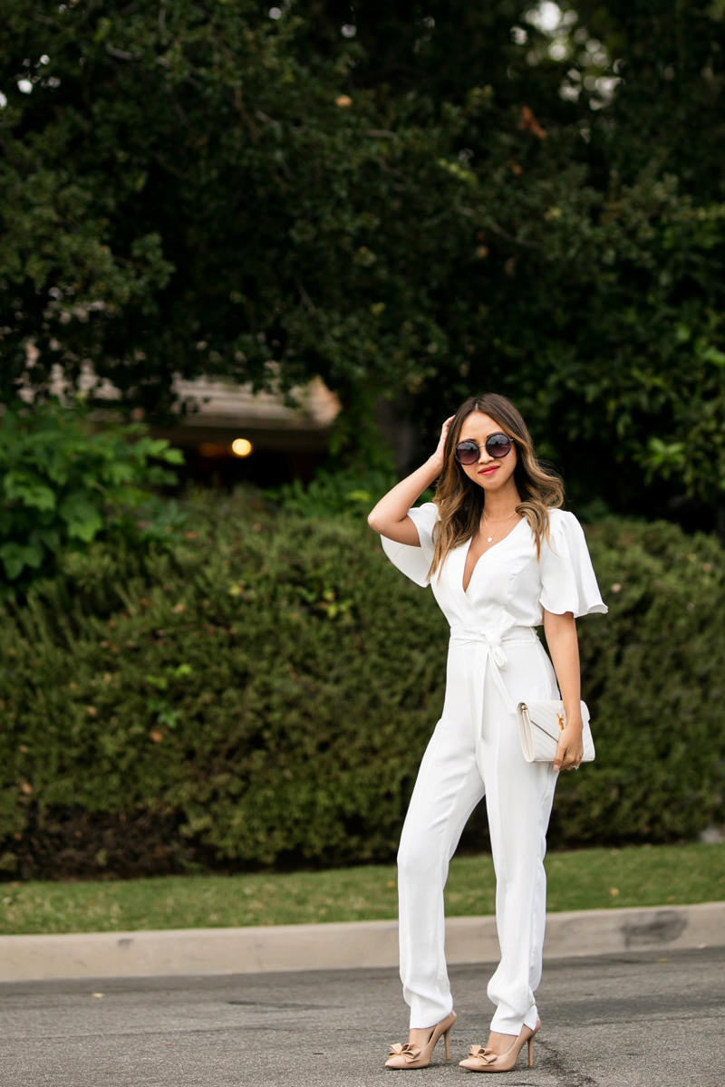 lace and locks, petite fashion blog, white jumpsuit, summer fashion, white outfit ideas,orange county fashion blogger, nordstrom jumpsuit, bow pumps