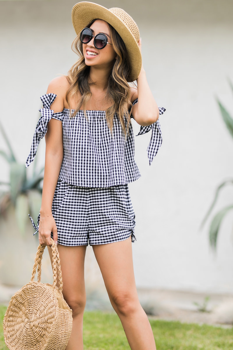 lace and locks, petite fashion blogger, summer outfit, gingham top, asos summer fashion, cute summer looks