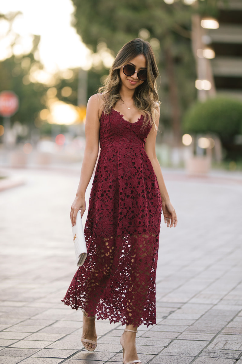lace and locks, petite fashion blogger, lace midi dress, nordstrom fall fashion, fall wedding dress, burgundy dress, orange county blogger, nordstrom dress