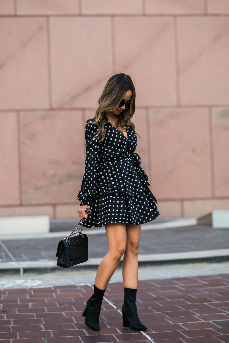 lace and locks, petite fashion blogger, polka dot dress, nordstrom fall fashion, black sock booties, cute fall look, orange county blogger, nordstrom dress