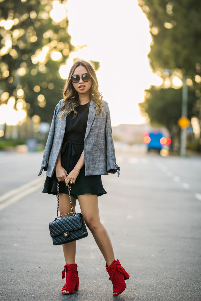 lace and locks, petite fashion blogger, work outfit, fall outfit, fall fashion, river island romper, red bow shoes, cute fall look, orange county blogger