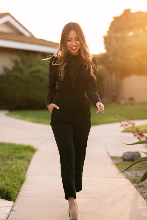 lace and locks, petite fashion blogger, express petite collection, orange county blogger, lace jumpsuit, black jumpsuit, holiday outfit ideas, holiday fashion