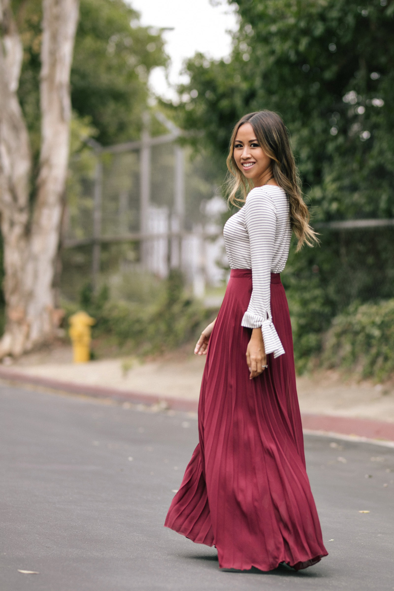 lace and locks, petite fashion blogger, burgundy maxi skirt, pleated maxi skirt, striped bow top, cute fall skirt, petite maxi skirt, fall fashion