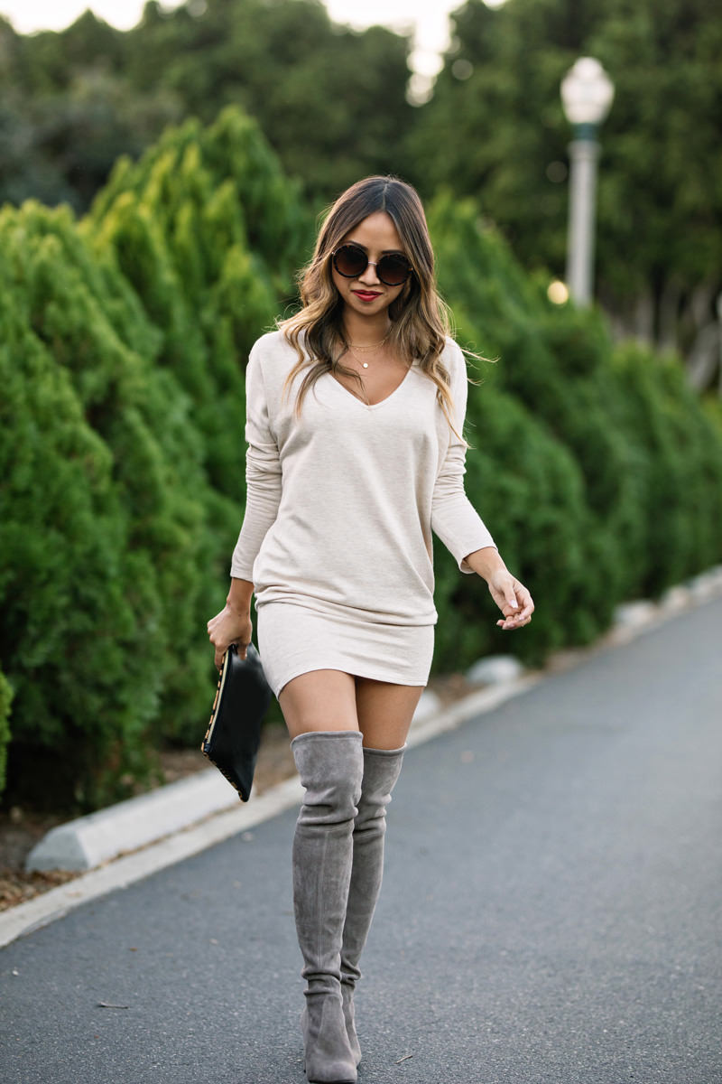 lace and locks, petite fashion blogger, stuart weitzman over the knee boots, nordstrom fall fashion, nordstrom shoes, fall tunic dress, orange county blogger