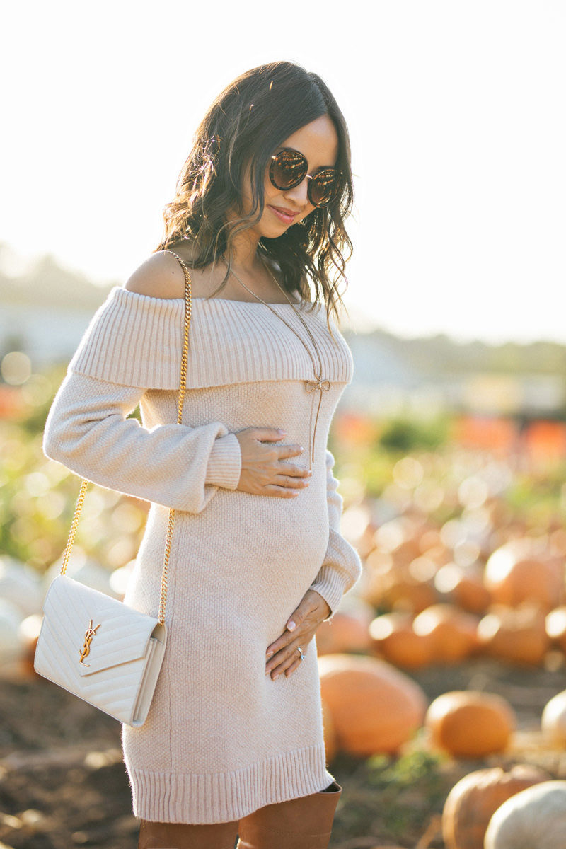Fall Off the Shoulder Sweater Dress