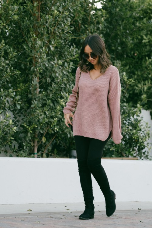 maternity fashion, dressing the bump, fall fashion, lace and locks, petite fashion blogger, morning lavender pullover sweater