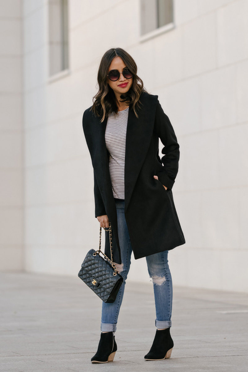 lace and locks petite fashion blogger, black booties, chanel medium classic, ann taylor black coat, winter fashion