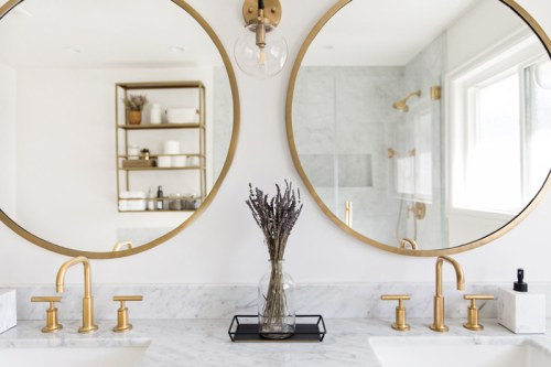 lace and locks bathroom remodel, before and after bathroom, bathroom makeover, marble bathroom, white and gold bathroom, modern bathroom makeover, lace and locks home remodel