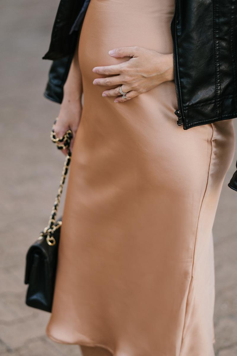 maternity fashion, dressing the bump, fall fashion, lace and locks, petite fashion blogger, slip dress, holiday fashion