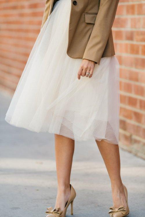 ivory white tulle skirt