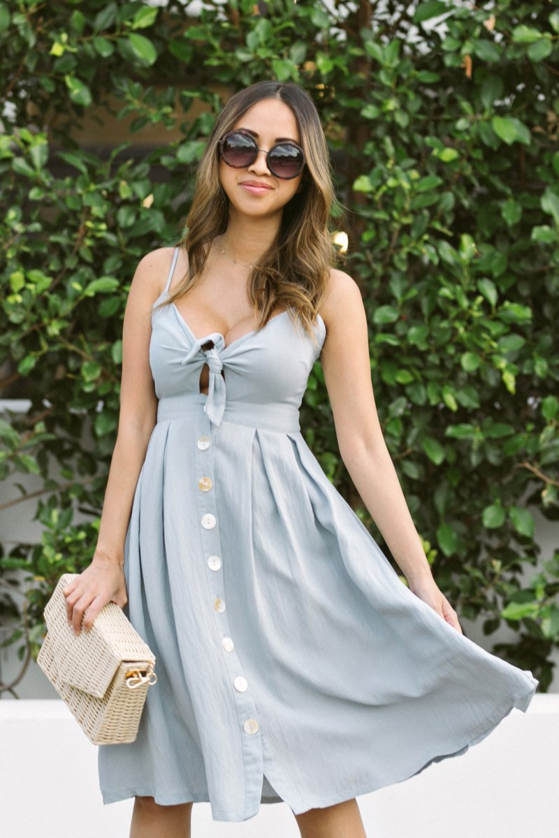 morning lavender summer blue dress