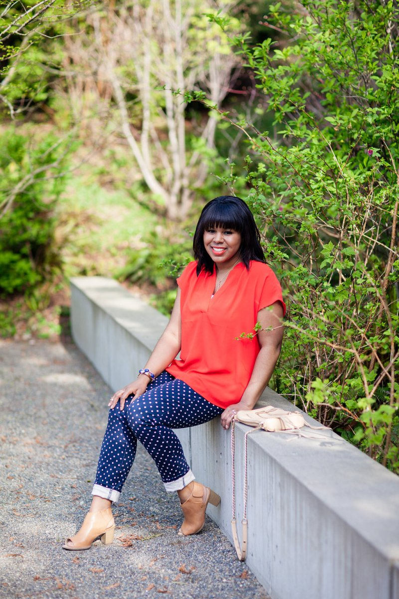These polka dot pants are super comfortable and don't need much styling. The pop of color from the top keep things playful and fun. Polka dots don't need a sales pitch, but I still wanted to share a few reasons why you need them.