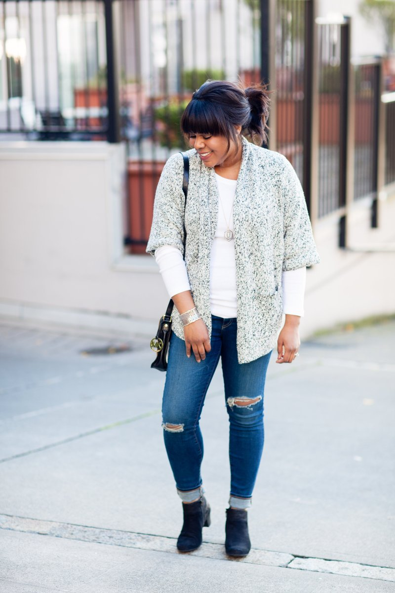Marl chunky cardigan, distress jeans, and booties