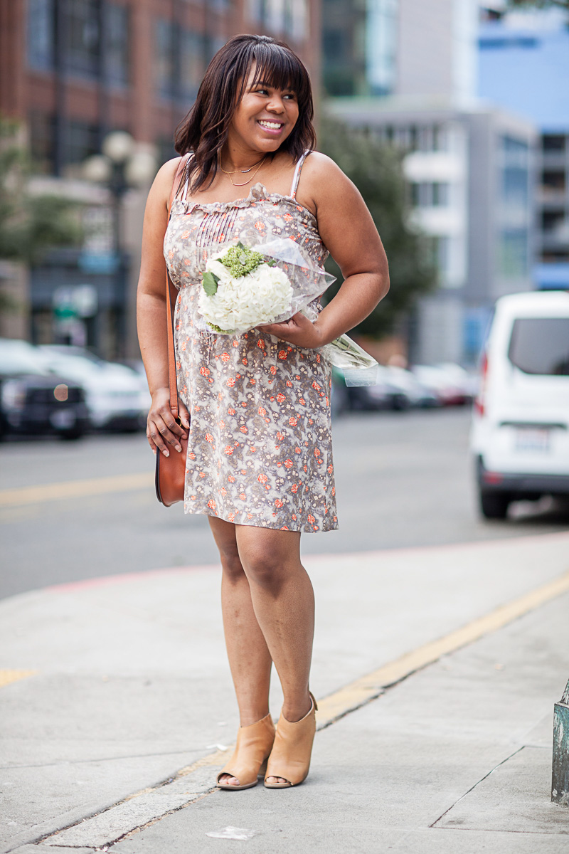 Dressing for a large chest is no joke! There are so many rules and not all are created equal. Take the v-neck for example. Wearing: floral spaghetti strap dress.