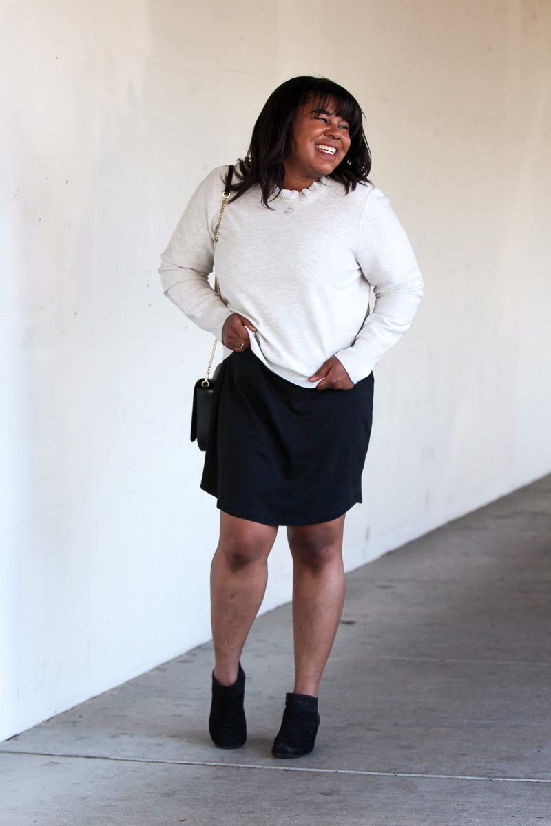 Let's get to the point of today's post - trying something new and taking a fashion risk! Even though it was outside of my comfort zone, I styled this dress as a skirt and look how good it turned out.