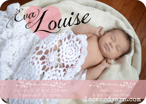 birth announcement by laceandyarn.com