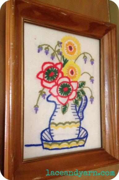 vintage flower pot embroidery