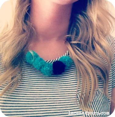 yarn pom necklace