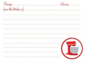 retro kitchen recipe card