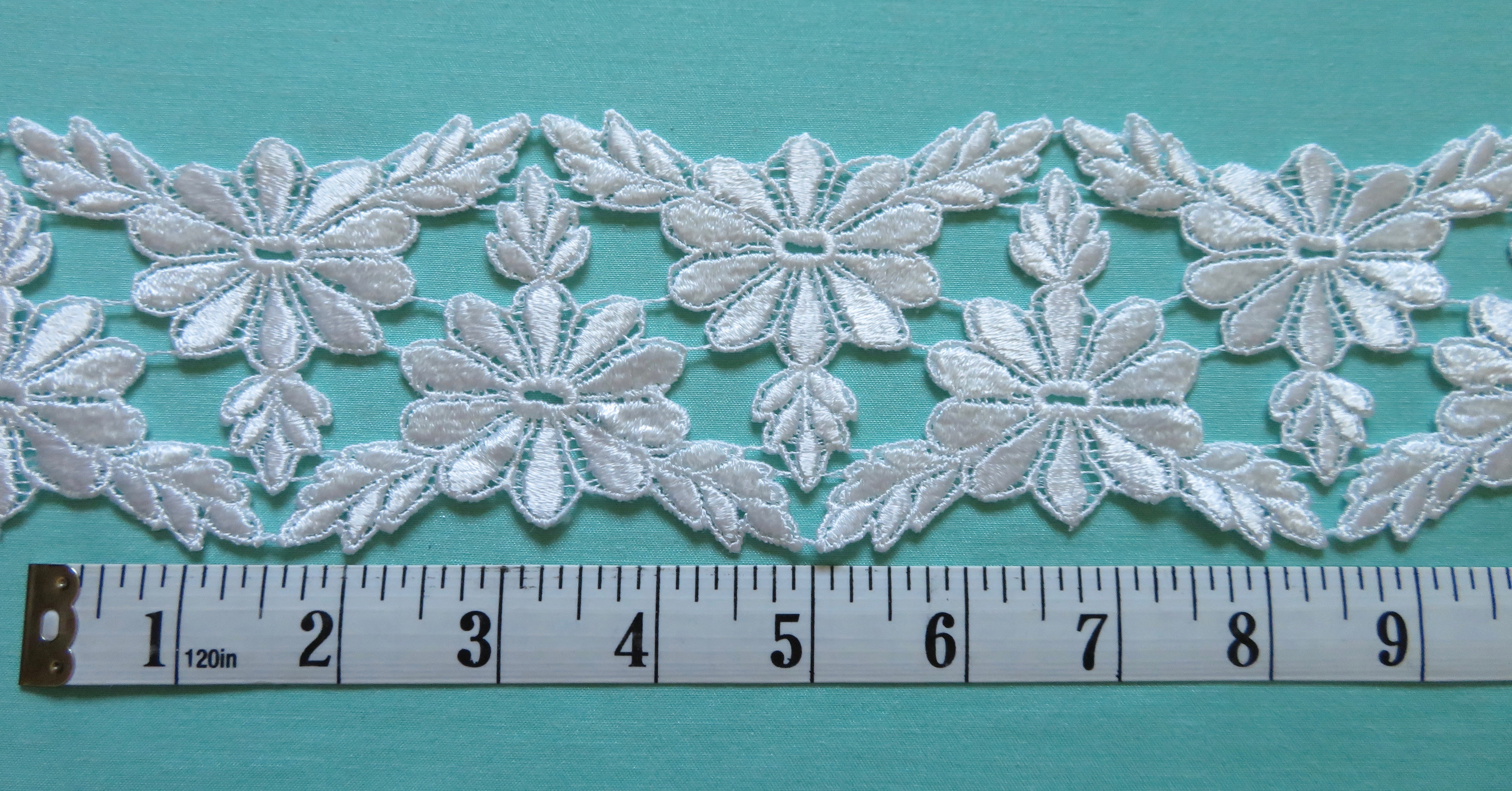 White Floral Venise Lace Trim 3//8 wide Pink price for 1 yard
