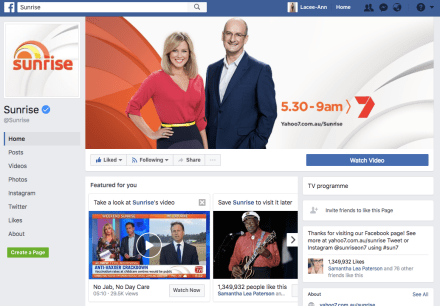 """TV is not just TV - Channel 7 """"Sunrise"""" has Facebook too."""
