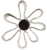 2 1/2'' by 2 1/4'' Silver Flower With Black Center Applique2 1/2'' by 2 1/4'' Silver Flower With Black Center Applique