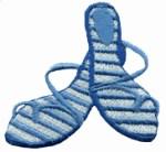 2 3/8'' by 2 1/8'' Light Blue/White Sandal Iron On Applique2 3/8'' by 2 1/8'' Light Blue/White Sandal Iron On Applique