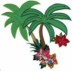 7'' by 8'' Iron On Palm Trees & Flowers Applique7'' by 8'' Iron On Palm Trees & Flowers Applique