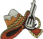 2 3/4'' by 2 3/8'' Iron On Cowboy Hat & Pistol Applique2 3/4'' by 2 3/8'' Iron On Cowboy Hat & Pistol Applique