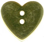 7/8'' - Gold - 2 Hole Metal Heart - Button7/8'' - Gold - 2 Hole Metal Heart - Button