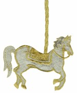 3 7/8'' by 5'' Iron On Metallic Carousel Horse Applique3 7/8'' by 5'' Iron On Metallic Carousel Horse Applique
