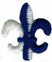 3/4'' by 7/8'' Fleur de lis Applique - Royal Blue/ White3/4'' by 7/8'' Fleur de lis Applique - Royal Blue/ White