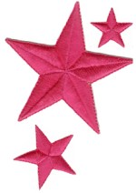 3'' - 7.6cm - Bright Pink 3 Piece Star Set3'' - 7.6cm - Bright Pink 3 Piece Star Set
