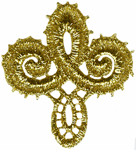 2'' by 2'' Metallic Gold Fleur De Lis Applique2'' by 2'' Metallic Gold Fleur De Lis Applique