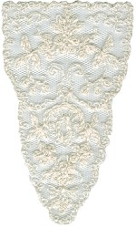 3'' by 5'' White Netting with Ivory Embroidery Applique3'' by 5'' White Netting with Ivory Embroidery Applique