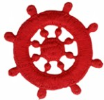 2 1/8'' - 5.4cm - Iron On Red Boat Wheel Applique2 1/8'' - 5.4cm - Iron On Red Boat Wheel Applique