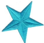 3'' - 7.6cm - Iron On Star Applique - Turquoise, White3'' - 7.6cm - Iron On Star Applique - Turquoise, White