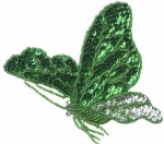 4 3/8'' by 4'' Emerald/Silver Beaded & Sequined Butterfly Applique4 3/8'' by 4'' Emerald/Silver Beaded & Sequined Butterfly Applique