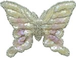 2'' by 2 5/8'' Beaded & Sequined Butterfly Applique With Pin on Back2'' by 2 5/8'' Beaded & Sequined Butterfly Applique With Pin on Back