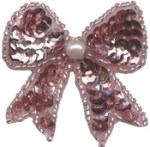 1 3/4'' by 1 1/2'' Pink Beaded & Sequined Bow Applique1 3/4'' by 1 1/2'' Pink Beaded & Sequined Bow Applique